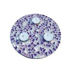 Cristallo Mosaikbastelset Teelichthalter Weiss-Lila-Violett