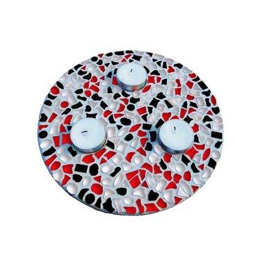 Cristallo Mosaik Bastelset Teelichthalter Rot-Schwarz-Weiss