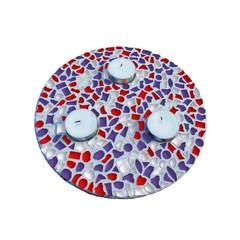 Cristallo Mosaikbastelset Teelichthalter Rot-Weiss-Lila