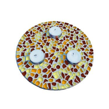 Cristallo Mosaik Bastelset Teelichthalter Braun-Orange-Gelb