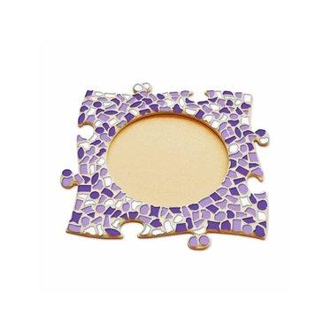 Cristallo Mosaik Bastelset Bilderrahmen Kreis Weiss-Lila-Violett