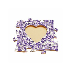 Cristallo Mosaikbastelset Bilderrahmen Herz Weiss-Lila-Violett