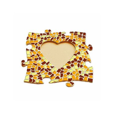 Cristallo Mosaik Bastelset Bilderrahmen Herz Braun-Orange-Gelb