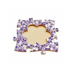 Cristallo Mosaikbastelset Bilderrahmen Blume Weiss-Lila-Violett
