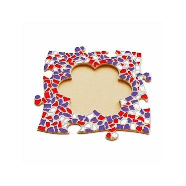 Cristallo Mosaik Bastelset Bilderrahmen Blume Rot-Weiss-Lila