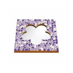 Cristallo Mosaikbastelset Spiegel Blume Weiss-Lila-Violett