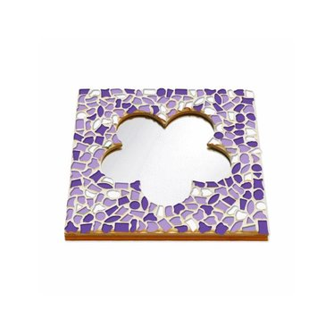 Cristallo Mosaik Bastelset Spiegel Blume Weiss-Lila-Violett