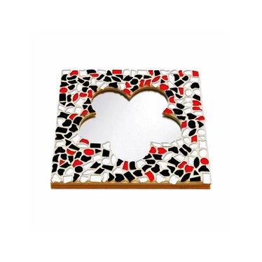 Cristallo Mosaik Bastelset Spiegel Blume Rot-Schwarz-Weiss