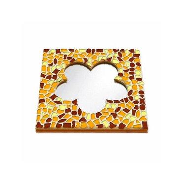 Cristallo Mosaik Bastelset Spiegel Blume Braun-Orange-Gelb