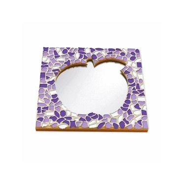 Cristallo Mosaik Bastelset Spiegel Apfel Weiss-Lila-Violett