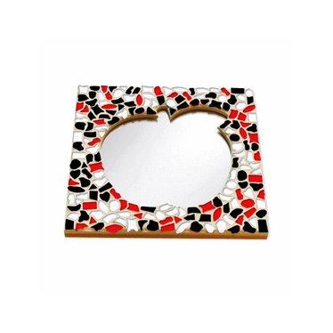 Cristallo Mosaik Bastelset Spiegel Apfel Rot-Schwarz-Weiss