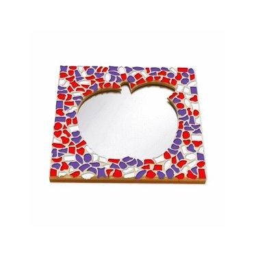 Cristallo Mosaik Bastelset Spiegel Apfel Rot-Weiss-Lila