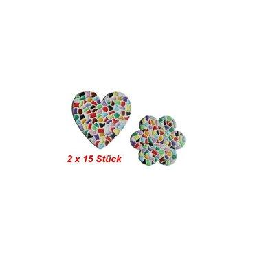 Cristallo Herz / Blume 2x15 Stück Mosaik Bastelset MIX