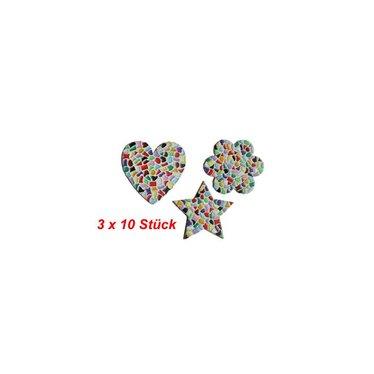 Cristallo Herz / Blume / Stern 3x10 Stück Mosaik Bastelset MIX