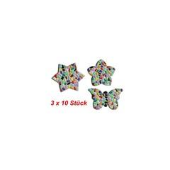 Cristallo Blume / Stern / Schmetterling 3x10 Stück Mosaikbastelset MIX