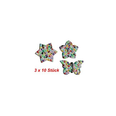 Cristallo Blume / Stern / Schmetterling 3x10 Stück Mosaik Bastelset MIX