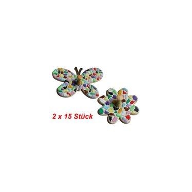 Cristallo Kleiderbügel Schmetterling / Blume 2x15 Stück Mosaik Bastelset MIX