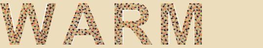 Buchstaben Farbkombination braum, gelb und orange