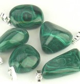 Malachite Gemstone with silver pendant, Cartier slot and Gift bag