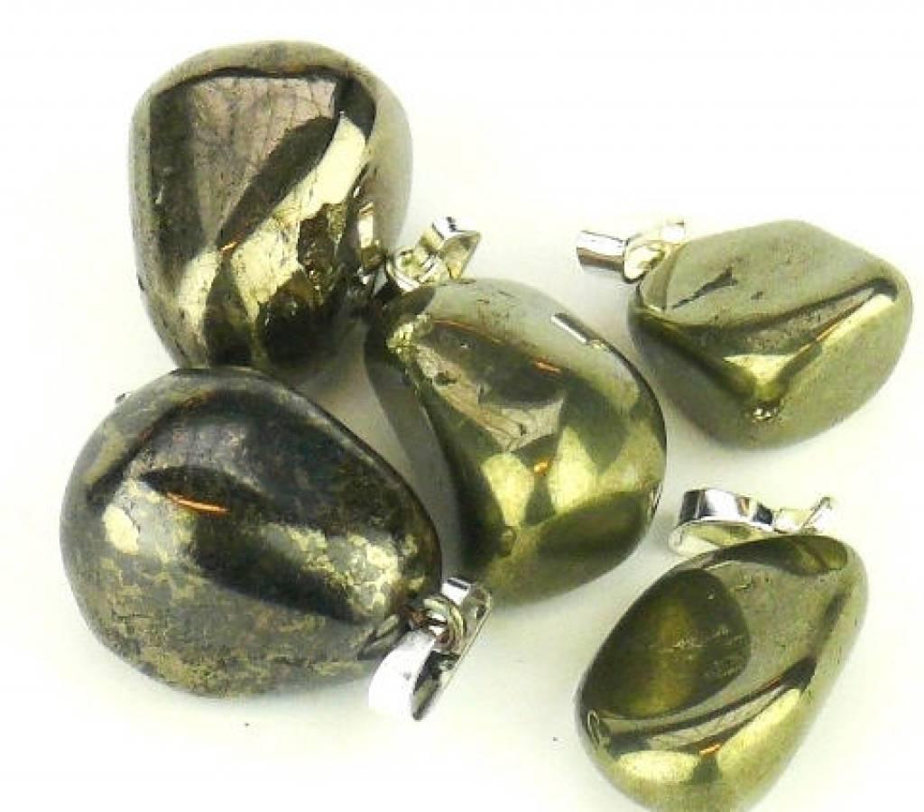 Pirite in oro con ciondolo in argento, chiusura Cartier e sacchetto regalo