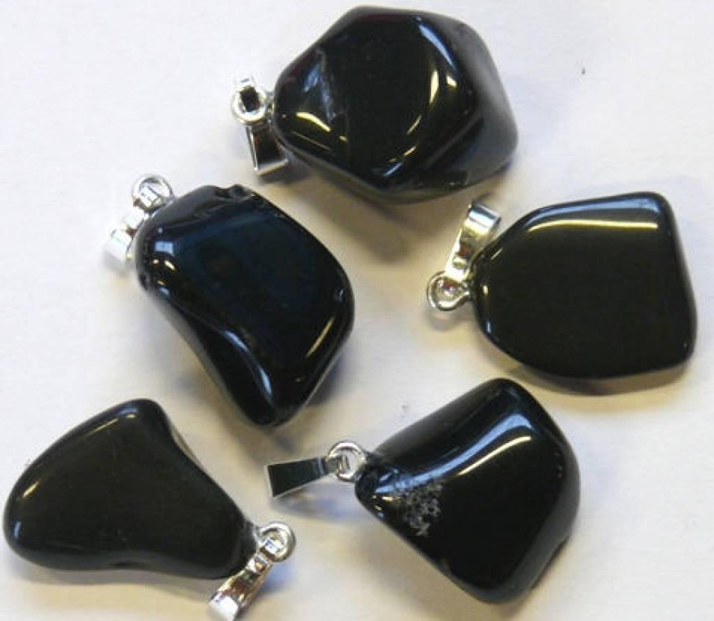 Onyx met zilveren hanger, Cartier sluiting en kadozakje