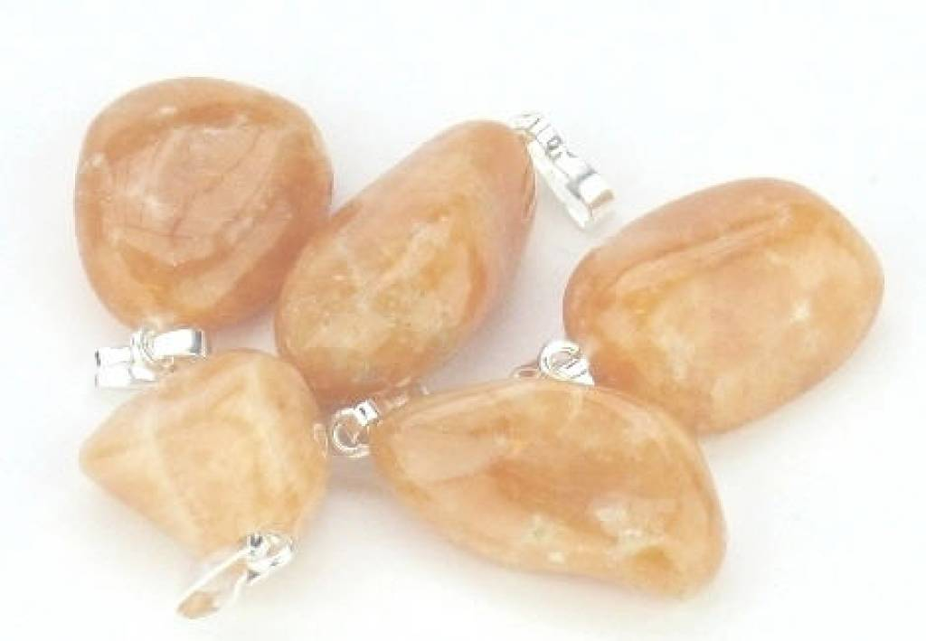 Calcite orange with silver pendant, Cartier closure and gift bag