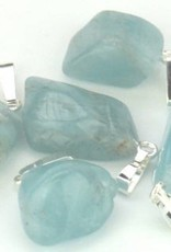 Aquamarine pendant with silver, Cartier closure and gift bag