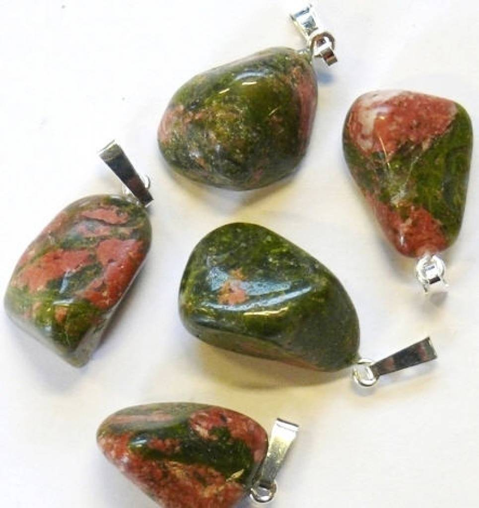 Unakite with silver pendant, Cartier closure and gift bag