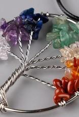 Adornos de un árbol de plata y collar de plata con piedras semipreciosas hojas (como la cornalina, cuarzo rosa, jade, ópalo, labradorita, malaquita, ágata, citrino y onix)