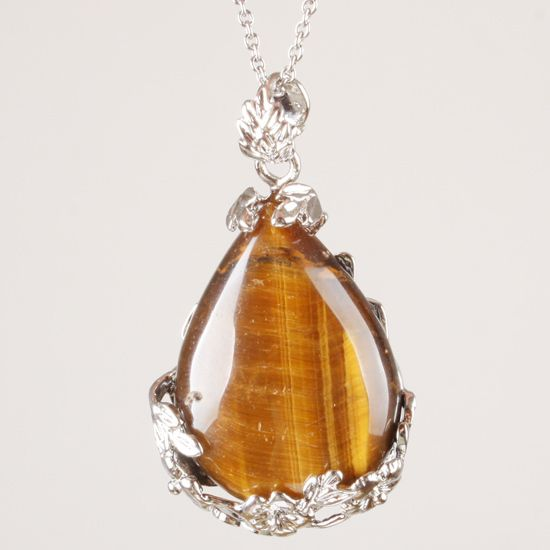Tiger eye gem stone silver pendant