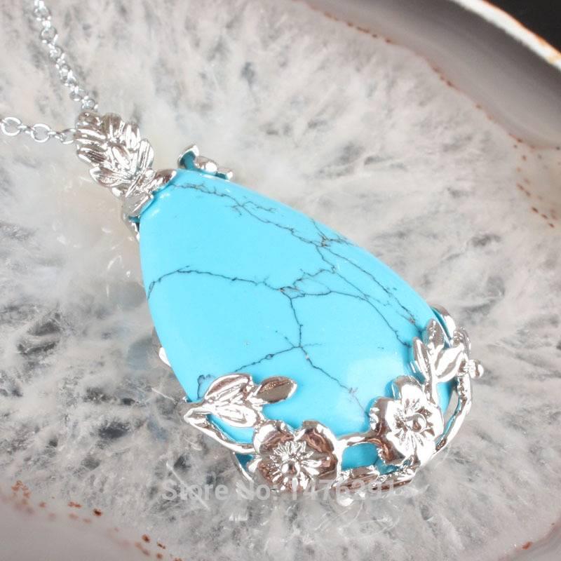 Turqoise gem steen met zilveren hanger