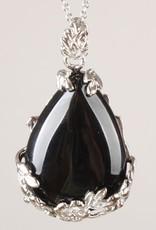 Noir onyx goutte d'eau avec pendentif en argent