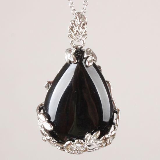 Czarne łzy Onyx srebrny wisiorek