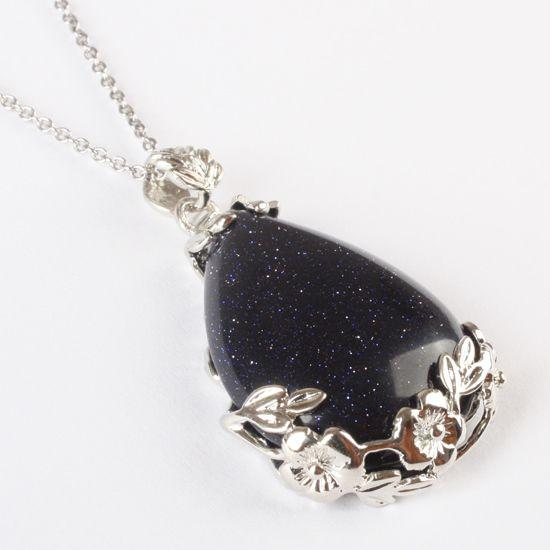 Goldstone -Kristall aventurescence Silber Anhänger