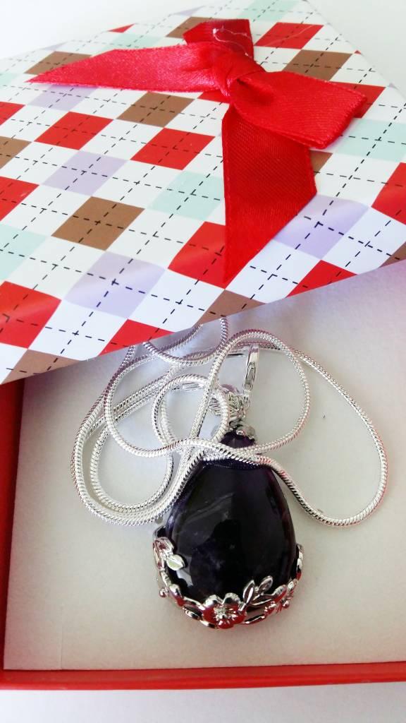 Black teardrop onyx met zilveren hanger
