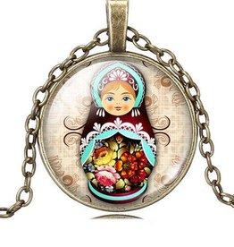 Matrioska colgante con collar vintage (Crystal Bronze)
