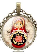 Matrioshka pingente de colar vintage (Crystal Bronze)