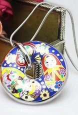 Matroesjka 18K gouden emaille donut handgemaakt. . (zilver met collier)