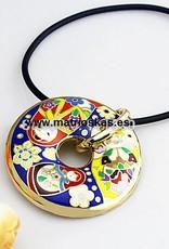 Matryoshka 18K gold enamel handmade donut(Silver with Silver Chain)