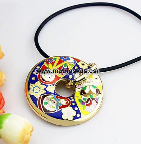 Matroschka 18K Gold Emaille handgemachte Donut  (Silber mit Silber Haljkette)