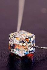 Facet kropla wody kryształ wisiorek srebro