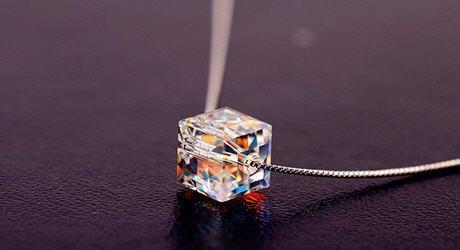 In argento sterling ciondolo di cristallo goccia d'acqua Facet