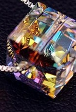 Facet Wassertropfen Kristallanhänger aus Sterling Silber