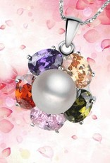 Vero gioiello AAA grade con ciondolo in argento e cristallo strass chiaro arco iris.