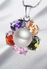 Verdadeira jóia AAA com pingente de prata e cristalinas strass arco iris.