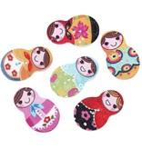 6 clothes matryoshka buttons 10-15 mm mixed motives
