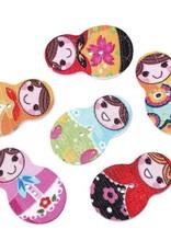 6 botones de la ropa Matrioska 10-15 mm motivos mixtos
