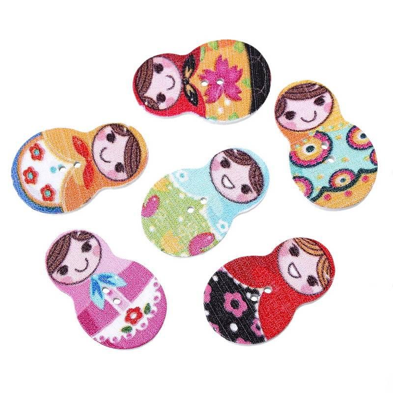6 ρούχα κουμπιά Ματρούσκα 10-15 mm μικτά κίνητρα