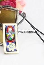 Handwerk Matrjoschka 18K Gold Emaille-Anhänger
