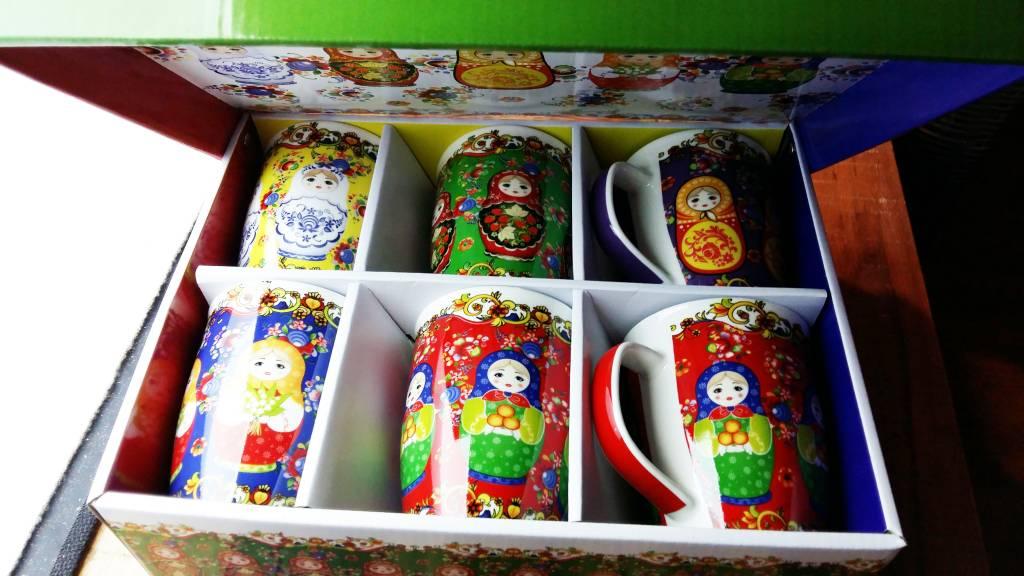 Tazas Matrioska conjunto V 6 caja de regalo